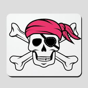 Pink Side-Ponytail Pirate Mousepad