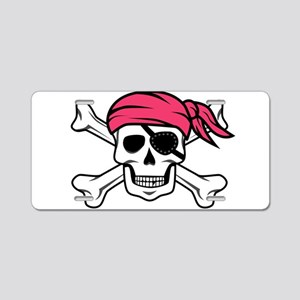 Pink Side-Ponytail Pirate Aluminum License Plate