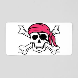 Pink Pirate Aluminum License Plate