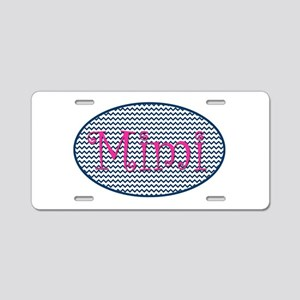 Mimi Navy Chevron and Pink Aluminum License Plate