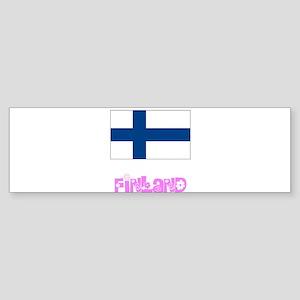 Finland Flag Pink Flower Design Bumper Sticker