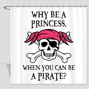 Pink Princess Pigtail Pirate Shower Curtain