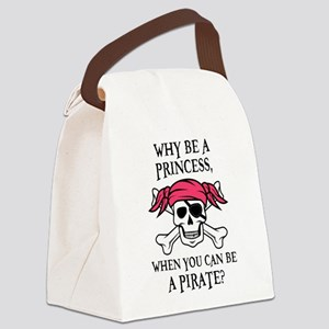 Pink Princess Pigtail Pirate Canvas Lunch Bag