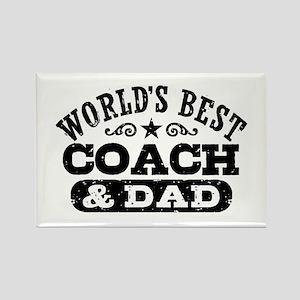 World's Best Coach & Dad Rectangle Magnet