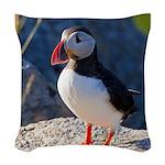 Atlantic Puffin Standing Woven Throw Pillow
