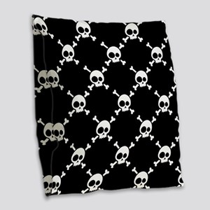 Whimsical Skull & Crossbones P Burlap Throw Pillow