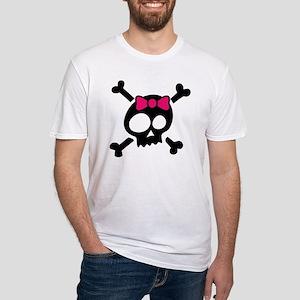 Whimsical Skull & Crossbones Pink Bow T-Shirt
