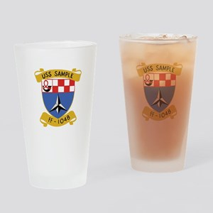 USS SAMPLE FF-1048 SHIPS CREST Drinking Glass