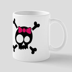 Whimsical Skull & Crossbones Pink Bow Mug