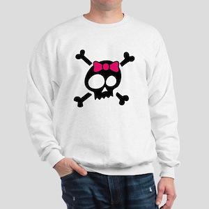 Whimsical Skull & Crossbones Pink Bow Sweatshirt