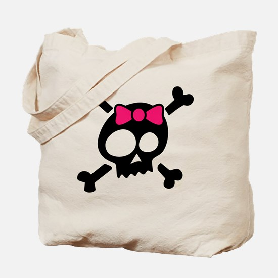Whimsical Skull & Crossbones Pink Bow Tote Bag