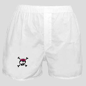 Whimsical Skull & Crossbones Pink Bow Boxer Shorts