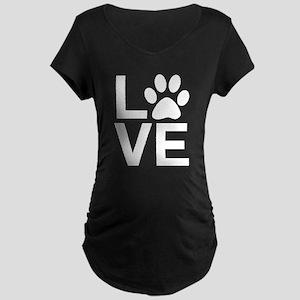 Love Dogs / Cats Pawprints Maternity Dark T-Shirt