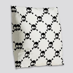Whimsical Skull & Crossbones Burlap Throw Pillow