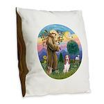 StFrancis-Basset#3 Burlap Throw Pillow