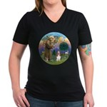 StFrancis-Basset#3 Women's V-Neck Dark T-Shirt