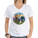 StFrancis-Basset#3 Women's V-Neck T-Shirt