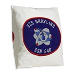 USS GRAYLING Burlap Throw Pillow