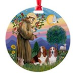 StFrancis-2Bassets Round Ornament
