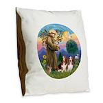 StFrancis-2Bassets Burlap Throw Pillow