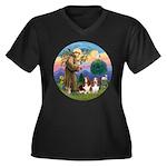 StFrancis-2B Women's Plus Size V-Neck Dark T-Shirt