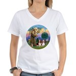 StFrancis-2Bassets Women's V-Neck T-Shirt
