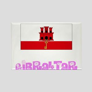 Gibraltar Flag Pink Flower Design Magnets