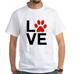 Love Dogs / Cats Pawprints White T-Shirt