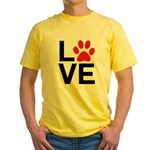 Love Dogs / Cats Pawprints Yellow T-Shirt