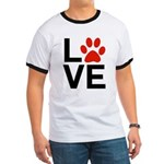 Love Dogs / Cats Pawprints Ringer T