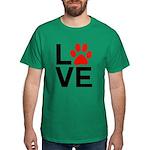 Love Dogs / Cats Pawprints Dark T-Shirt