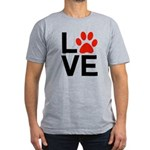 Love Dogs / Cats Pawpr Men's Fitted T-Shirt (dark)
