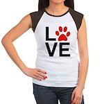 Love Dogs / Cats Pawpr Junior's Cap Sleeve T-Shirt