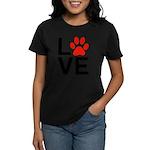 Love Dogs / Cats Pawprints Women's Dark T-Shirt