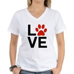 Love Dogs / Cats Pawprints Women's V-Neck T-Shirt