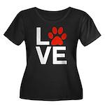 Love Dog Women's Plus Size Scoop Neck Dark T-Shirt
