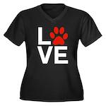 Love Dogs / Women's Plus Size V-Neck Dark T-Shirt