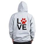 Love Dogs / Cats Pawprints Zip Hoodie