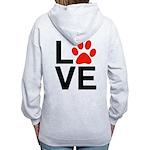 Love Dogs / Cats Pawprints Women's Zip Hoodie