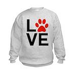 Love Dogs / Cats Pawprints Kids Sweatshirt