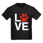 Love Dogs / Cats Pawprints Kids Dark T-Shirt
