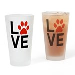 Love Dogs / Cats Pawprints Drinking Glass