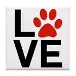 Love Dogs / Cats Pawprints Tile Coaster