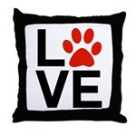 Love Dogs / Cats Pawprints Throw Pillow