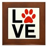 Love Dogs / Cats Pawprints Framed Tile