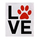 Love Dogs / Cats Pawprints Throw Blanket