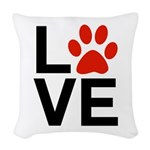 Love Dogs / Cats Pawprints Woven Throw Pillow