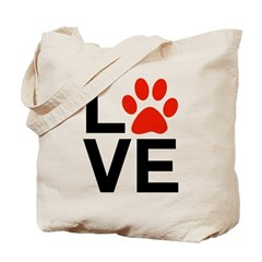 Love Dogs / Cats Pawprints Tote Bag