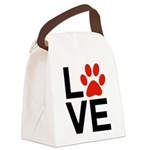 Love Dogs / Cats Pawprints Canvas Lunch Bag
