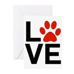 Love Dogs / Cats Pawprin Greeting Cards (Pk of 10)